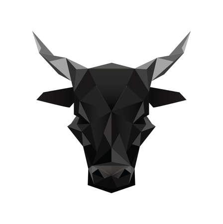 Illustratie van zwarte abstracte origami stier symbool op een witte achtergrond
