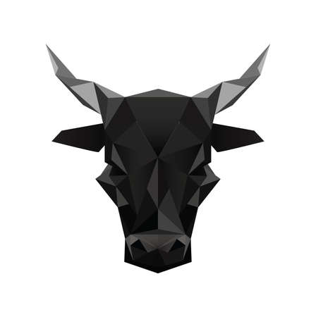 Illustration of black abstract origami bull symbol isolated on white background