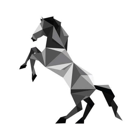 Illustration of abstract origami black horse standing in pose Illustration