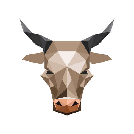 ox: Illustration of abstract origami bull