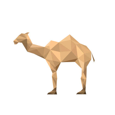 Illustration of abstract origami camel isolated on white background Vector