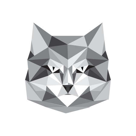 Illustration of origami cat portrait isolated on white background Vector