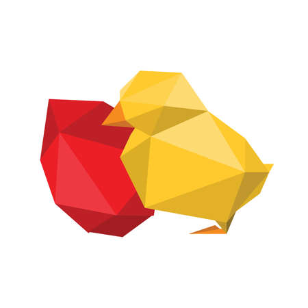 Illustration of abstract origami yellow chicken with red egg on white background Vector