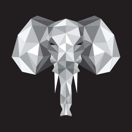 Illustration of abstract origami elephant on gray background