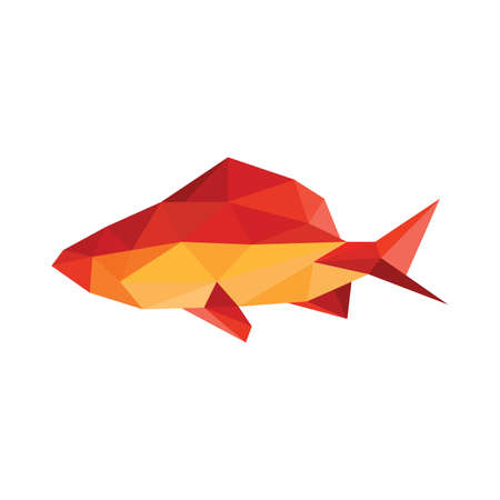 Illustration of abstract origami fish on white background Vector