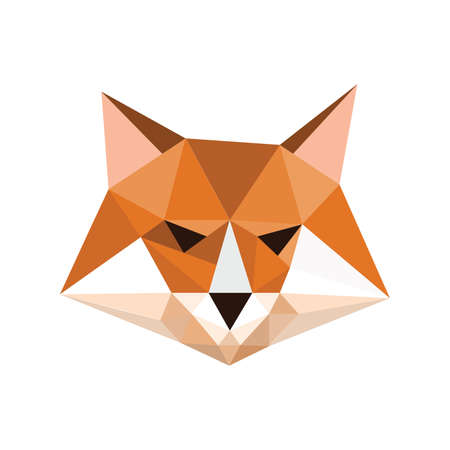 Illustration of origami fox portrait symbol Illustration