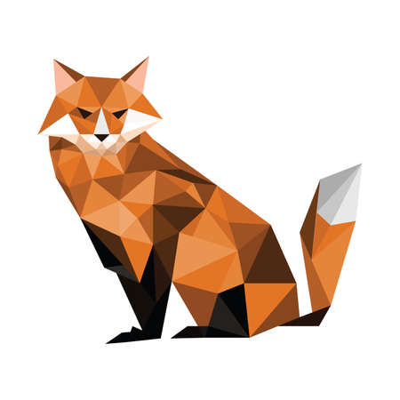 Illustration of origami fox isolated on white background