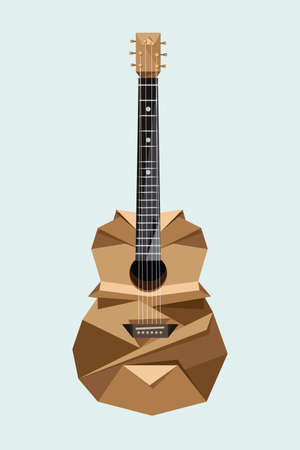 Origami classic guitar on gray background Vector