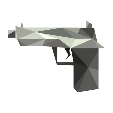 Illustration of abstract origami gun Vector