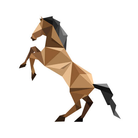 Illustration of abstract origami brown horse