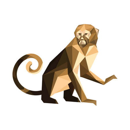 Illustration of origami brown monkey Vector