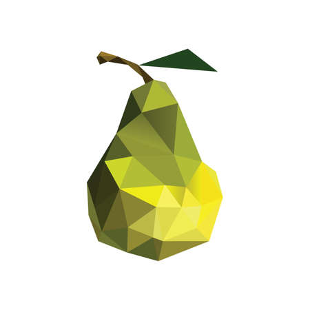 Illustration of abstract origami pear isolated on white background Vector