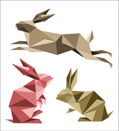 Collection of different origami rabbit poses Illustration