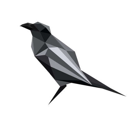 Illustration of abstract origami raven