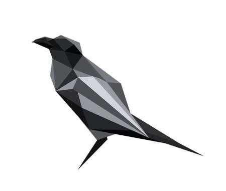corvo imperiale: Illustrazione di astratto origami corvo Vettoriali