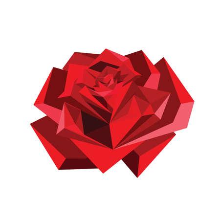 Illustratie van abstracte origami rode roos geïsoleerd op witte achtergrond