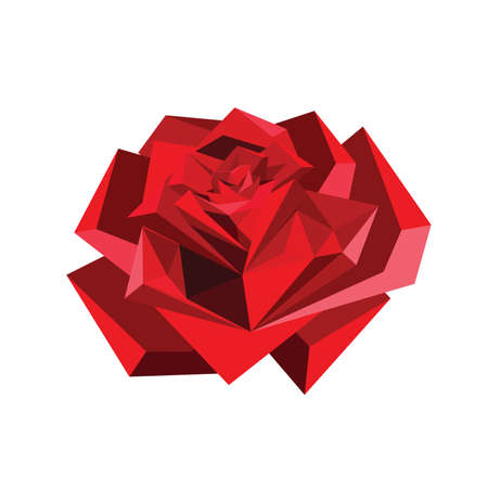 Illustration of abstract origami red rose isolated on white background Illustration