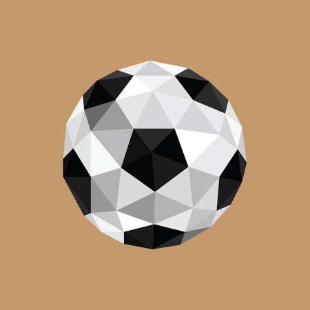 茶色の背景にサッカー ボールを抽象的な折り紙の図  イラスト・ベクター素材