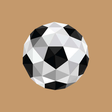 3d ball: Illustration of abstract origami soccer ball on brown background