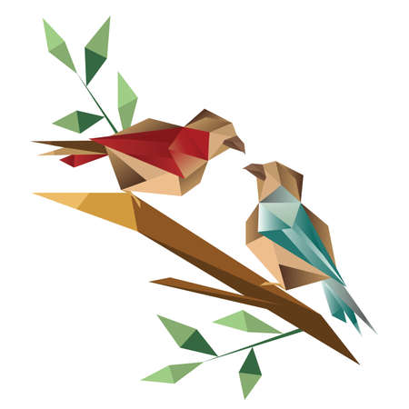Origami birds sitting on branch Vector