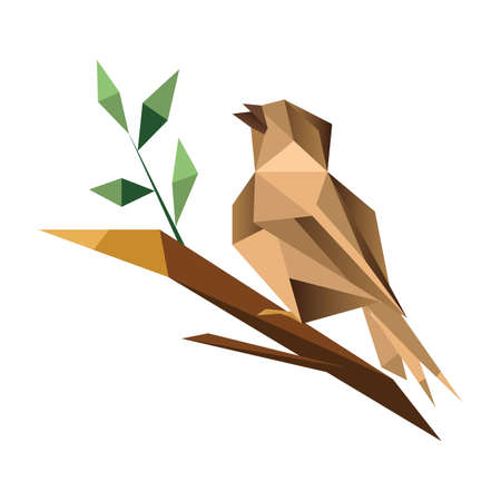 Origami sparrow isolated on white background sitting on  branch with green leaves Ilustração