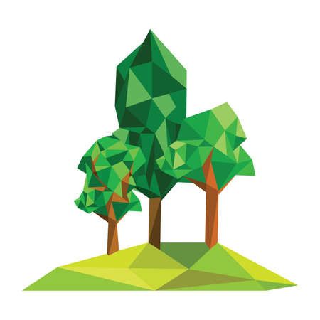 Illustration of abstract polygonal forest Vector