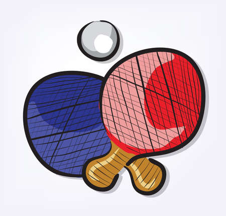Sport Equipment Cartoon Set Ping Pong . Clip-art, Illustration. Vector
