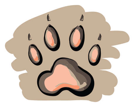 Illustration of cartoon paw print on brown background . Clip-art, Illustration. Vector