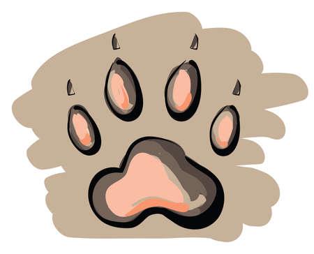 Illustration of cartoon paw print on brown background . Clip-art, Illustration.