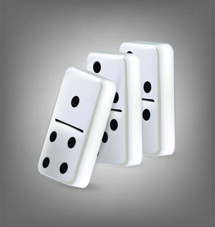Illustration of three domino blocks. Clip-art, Illustration.
