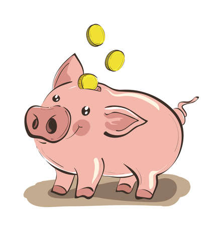 Illustration of hand drawn piggy bank with three golden coins . Clip-art, Illustration. Ilustrace