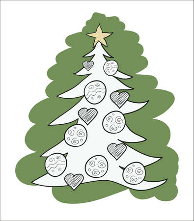 Christmas Tree Outlined . Clip-art, Illustration. Vector