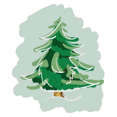 albero pino: Disegnato a mano Pino. Clip-art, illustrazione.