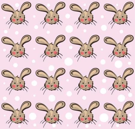 girlie: Illustration of funny rabbits pattern on pink background . Clip-art, Illustration. Illustration