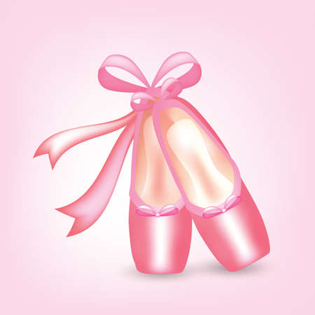 slippers: Illustration of realistic pink pointed shoes with ribbons . Clip-art, Illustration. Illustration