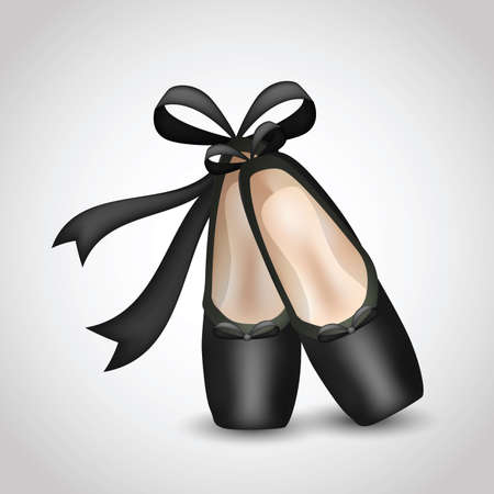 Illustration of realistic black ballet pointes shoes. Clip-art, Illustration. Vector