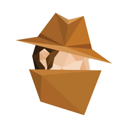 Illustration of abstract polygonal spy character isolated on white background Vector