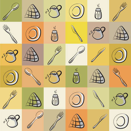 Vintage background with different kitchen utensils . Clip-art, Illustration. Vector