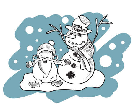 Illustration of coloring book with Santa Claus and snowman . Clip-art, Illustration. Vector