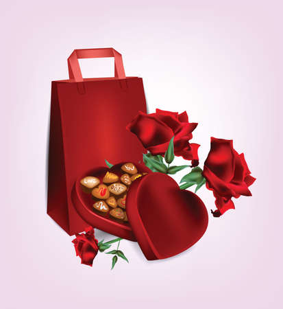 indulgence: Valentine Chocolate Heart with Roses . Clip-art, Illustration.