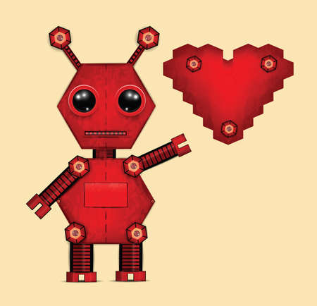 heart clipart: Illustration of red valentine robot with heart . Clip-art, Illustration.