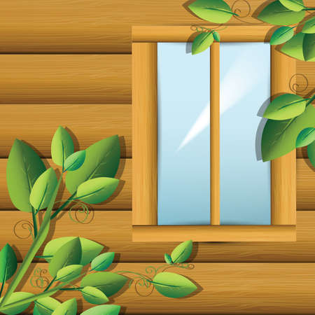 wooden window: Illustration of wooden window cabin with green plants . Clip-art, Illustration.