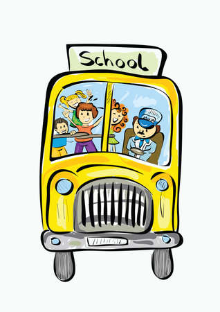 Illustration of hand drawn school bus . Clip-art, Illustration. Vector