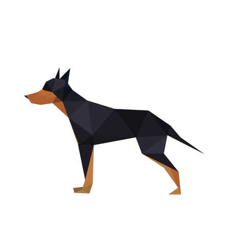 doberman: Illustration der abstrakten Origami Dobermann-Hund Illustration