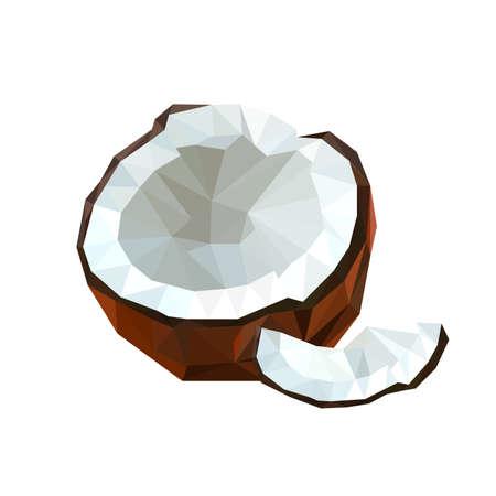 coconut fruit: Illustration of geometric polygonal coconut fruit isolated on white background