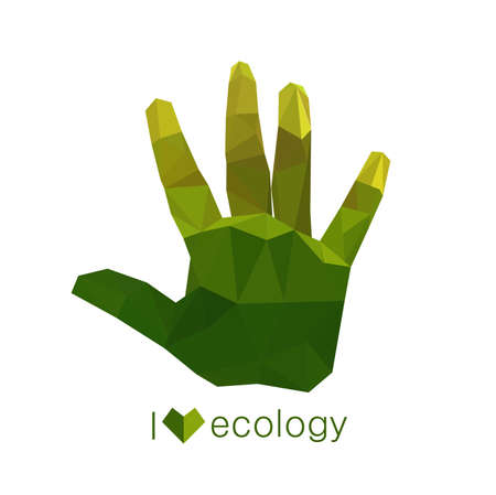Illustration of origami ecological green hand Vector