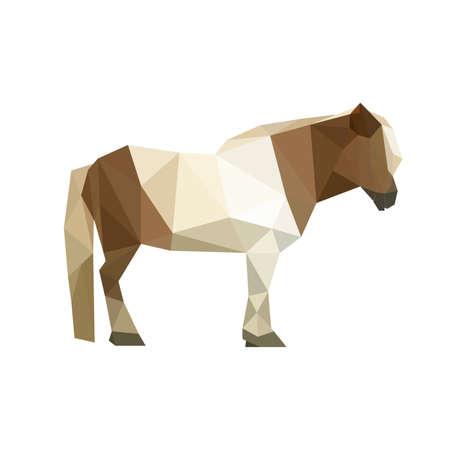 shetlander: Illustratie van geometrische veelhoekige pony