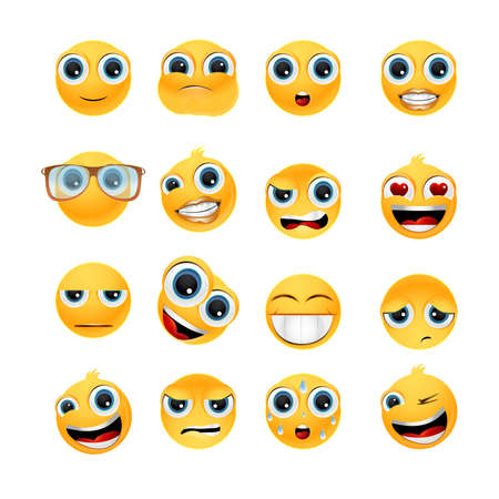 Collection of glossy emoticons isolated on white background