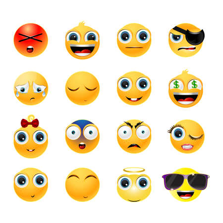 emoticons: Collection of glossy emoticons isolated on white background