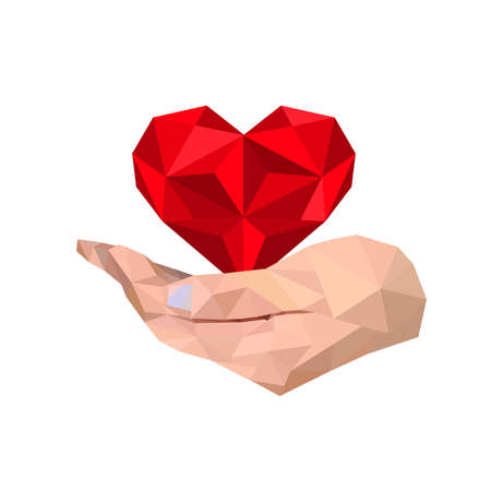 Illustration of geometric polygonal hand holding heart Illustration